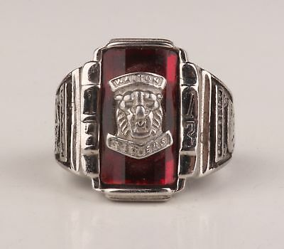 Silver Plating Inlaid Red Zirconium Shishi Body Face Statue Ring Rare Collection