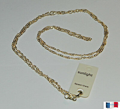 Collier Chaine Maille Singapour Torsade 60Cm Plaque Or Neuf N°2