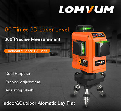 LOMVUM Laser Level 360 Rotary Self Auto Leveling Horizontal Vertical Cross Line