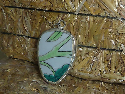 Multicolor Chinese porcelain pottery shard pendant jewelry making bead S544
