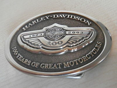 Harley Davidson 100th Anniversary Collectible Leather Belt Buckle