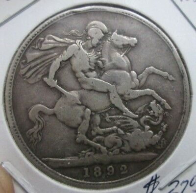 1892 Great Britain Queen Victoria Silve One Crown Coin No Reserve
