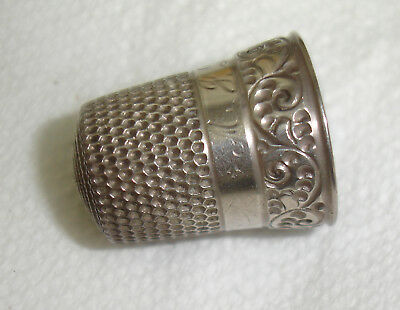 Simons Big Shield Big S Sterling Size 10 Thimble Excl.Round Initialed