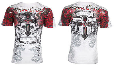 XTREME COUTURE by AFFLICTION Mens T-Shirt CARNIVORE Skulls Biker MMA UFC $40