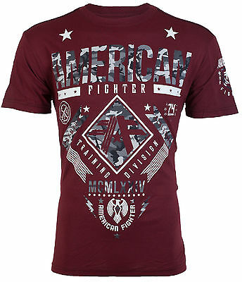 AMERICAN FIGHTER Mens T-Shirt LANDER Athletic BURGUNDY GREY CAMO Gym MMA UFC $40