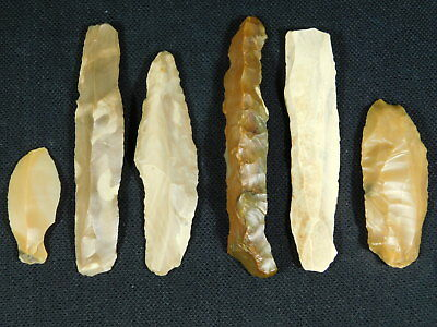 Lot of SIX! 9,000 to 4,000 Year Old Lithic Arifacts! Bir Gandus Morocco 45.61gr