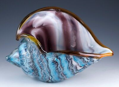 "New Large Hand Blown Glass Blue and Purple Seashell Figurine 8"" Long 5"" High"