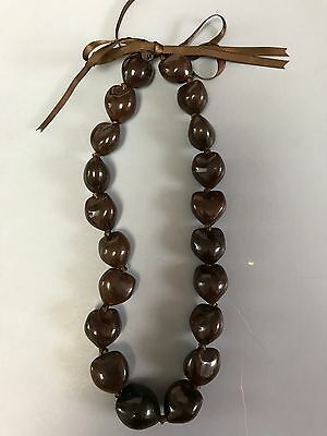 Hawaiian Brown Kukui Nut Lei Chocker Boho Bead Necklace