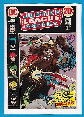 """Justice League Of America #104_Feb 1973_Very Fine_Superman_""""the Shaggy Man""""!"""
