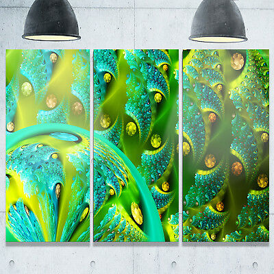 Vibrant Green Fractal Flower Pattern - Oversized Abstract Glossy Metal Wall Art