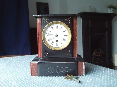 Antique / vintage Victorian marble mantle clock - working order with key