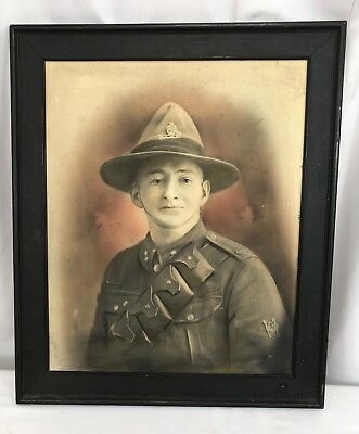 WWI New Zealand Army Artillery Soldiers Framed Portrait Photo