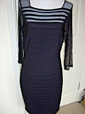 Roman Black Tiered Semi Sheer Stretchy Fitted Dress Uk 12 Excellent Cond