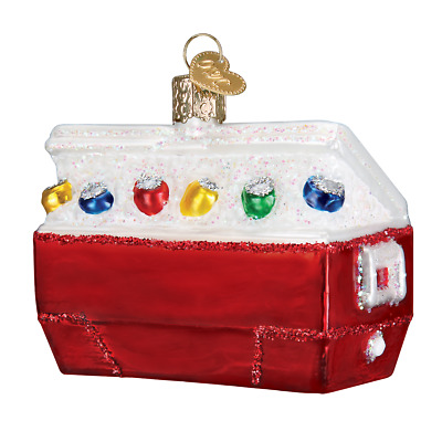 """""""Ice Chest"""" (32335)X Old World Christmas Glass Ornament w/OWC Box"""