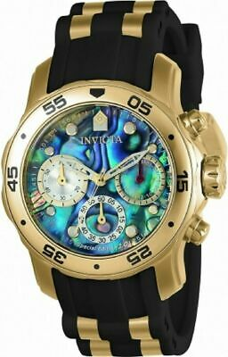 Invicta Pro Diver 24830 Men's Abalone Dial 38mm Gold Tone Chronograph Watch
