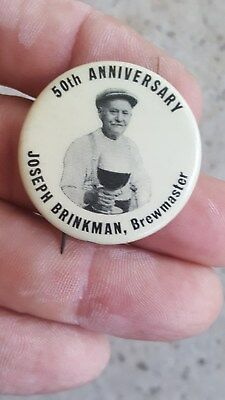 50th Anniversary  Joseph Brinkman Brewmaster,Wooden Shoe Beer Pinback Button