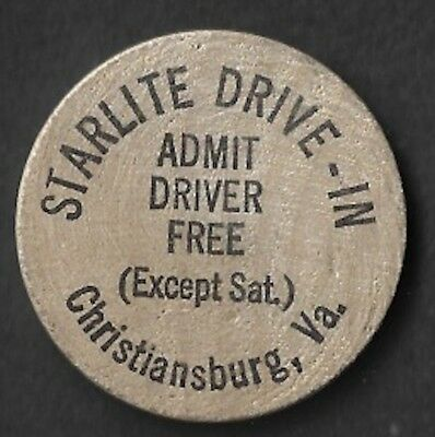 Vintage Wooden Nickel Starlite Drive-In Christiansburg Virginia