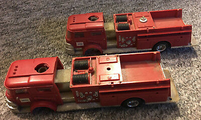 Two Vintage 1970 HESS Fire Trucks Toy by Marx for parts or restoration