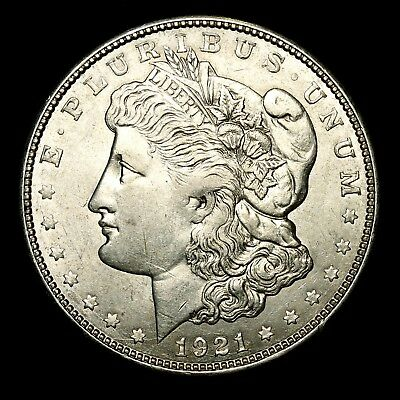 1921 D ~**ABOUT UNCIRCULATED AU**~ Silver Morgan Dollar Rare US Old Coin! #D52