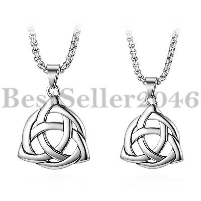 """Men Women Stainless Steel Polished Celtic Knot Triangle Pendant Necklace 22"""""""