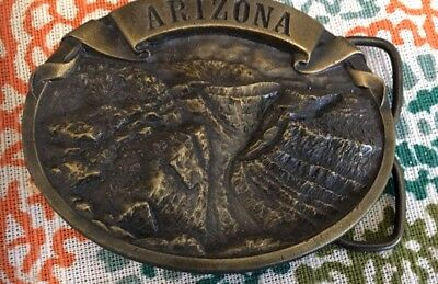 "STATE OF ARIZONA Grand Canyon BELT BUCKLE,  BRASS, PREOWNED 3 1/2"" X 2 1/2"""