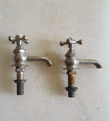 ANTIQUE Vintage PORCELAIN HOT COLD NICKEL PLATED BRASS SINK FAUCET HANDLE * OLD