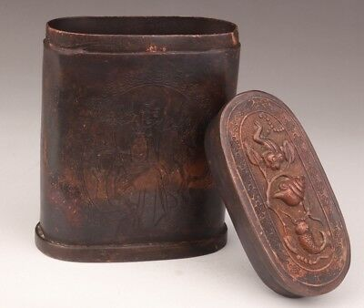 Valuable Chinese Copper Toothpick Box Old Relief Belle Collection
