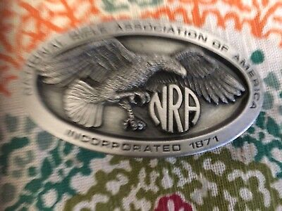"Nra National Rifle Assn  Belt Buckle,  #ed Made In Usa, Preowned 3 1/2"" X 2 1/2"""