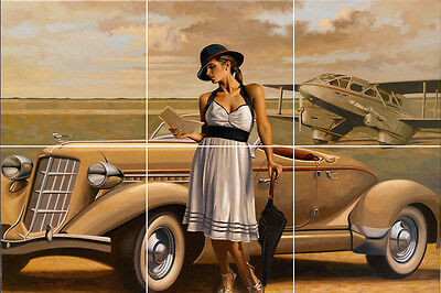 painting vintage classic car airplane art deco tile mural  adventure romance