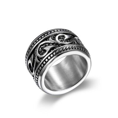 Vintage Mens Silver 316L Stainless Steel Celtic Totem Biker Ring Band #7-15