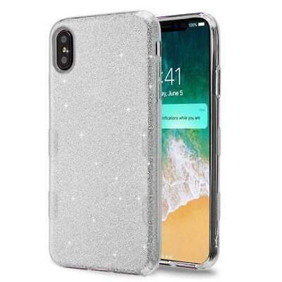 Shockproof Slim Hybrid Bling Glitter Sparkle Case for iPhone Xs Max 2018 - Silvr