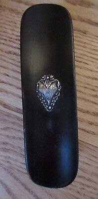 ANTIQUE French Medallion Clothes Brush Ebony STERLING Silver HORSE HAIR 1900