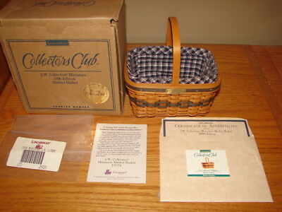 Longaberger 1996 Gold Seal JW Miniature Market Basket Combo Signed DAVE