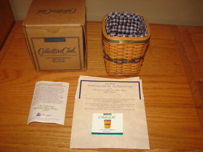 Longaberger 1997 Miniature Waste Basket Collectors Club Combo Signed by Dave