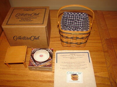 Longaberger 1999 Miniature Two-Pie Basket Collectors Club Super Combo