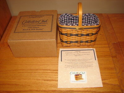 Longaberger 2000 Miniature Bread and Milk Basket Collectors Club Combo
