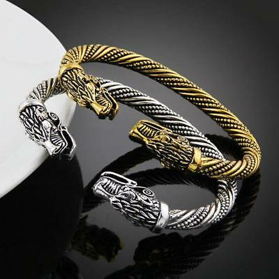 Retro Ancient Amulet Dragon Head Bracelet Cuff Bangle Men Jewelry Adjustable J