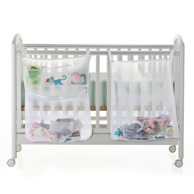 Baby Cot Bed Crib Nursery Hanging Toy Diaper Clothes Mesh Storage Organizer Bags