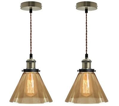 2 x Vintage Gold Smoked Glass Shade Brass Pendant Ceiling Pub Diner Light M0082