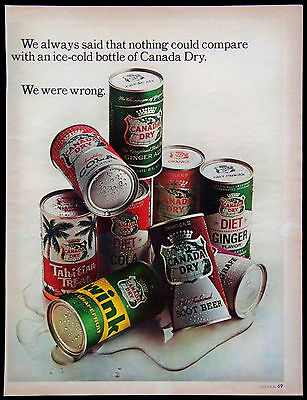Vintage 1965 Canada Dry Soft Drinks Magazine Ad Ginger Ale Root Beer Cola Wink