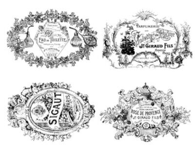 Vintage Image French Perfume Labels Furniture Transfers Decals MIS654~U PIC SIZE
