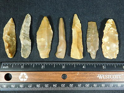 Lot of SEVEN 9,000 to 4,000 Year Old Lithic Arifacts! Bir Gandus Morocco 44.55gr