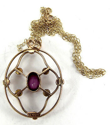 "Victorian 9ct Gold LAVALIER Pendant AMETHYST & Seed Pearl 18"" Chain"