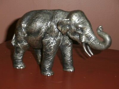 Heavy Pewter Elephant Figure Petro Italy Trunk Up for Luck