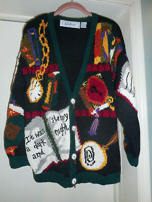 VINTAGE 90s BellePointe MYSTERY BOOK DETECTIVE TEACHER CARDIGAN SWEATER L
