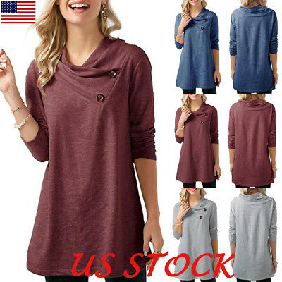 Women Long Sleeve Button Design Tunic Tops Autumn Casual Loose Jumper T Shirt US