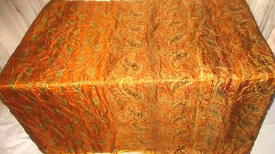 Brown Pure Silk 4 yd Vintage Sari Saree Pattern Smart Choice Wall Hanging #99Q7C