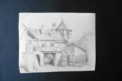 FRENCH SCHOOL 19thC - FARMHOUSE NEAR CASTLE RUINS - PENCIL DRAWING