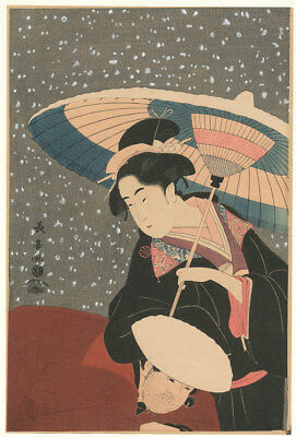Japanese woodblock print Choki Shushiki Poetess in Snow