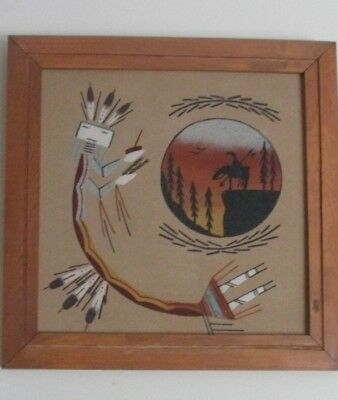 NATIVE AMERICAN .. NAVAJO ... SIGNED by ARTIST ... SAND PAINTING